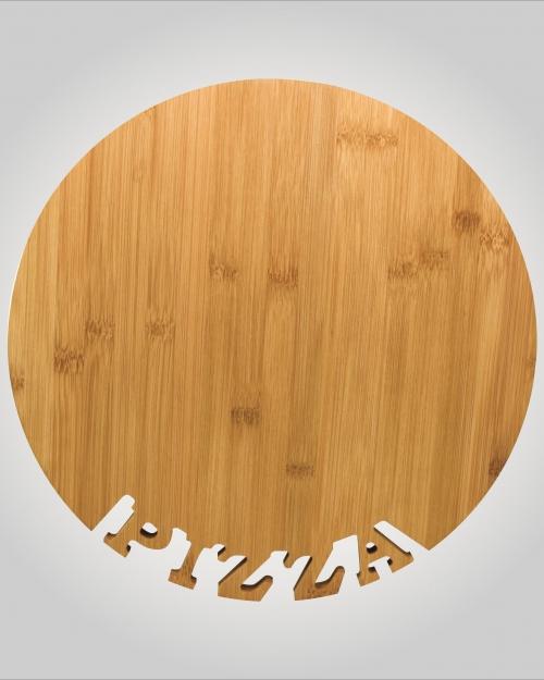 Tábua para Pizza em Bambu 33cm, Ecologicamente corretas, as Tábuas Bambu auxiliam você na hora de cortar e levar a mesa aquela pizza gostosa.